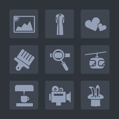 Premium set of fill icons. Such as photo, train, drawing, frame, blue, fashion, research, video, female, brush, beauty, old, white, clothing, heart, kitchen, coffee, magic, laptop, technology, paint