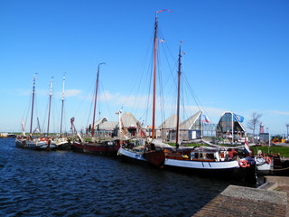 Ships in Stavren harbor, Holland