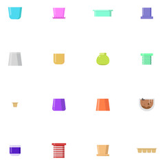 Set of flower pots. Vector illustrations isolated on white background.