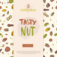 Nut collection modern banner with pattern. Isolated nuts healthy food site header. Natural walnut snack with leaves. Organic collection