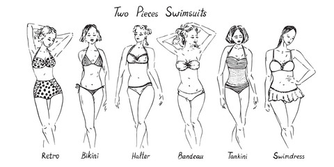 Portrait of sexy  pin up girls in different types of two pieces swimsuits variety set with inscriptions, retro, bikini, halter, bandeau, tankini, swimdress, hand drawn doodle vector illustration