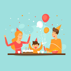 Birthday, parents with a child. Flat design vector illustration.