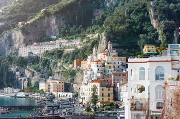 Panoramic view of Amalfi landscape, italian travel destination on mediterranean sea