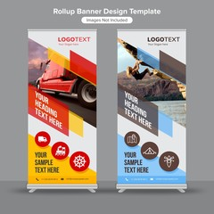 Geometric shapes roll up banners