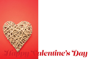 Wicker heart ornament  against cute valentines message