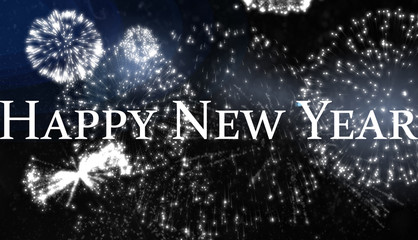 Happy new year against white fireworks exploding on black background