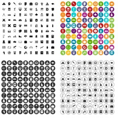 100 school icons set vector in 4 variant for any web design isolated on white