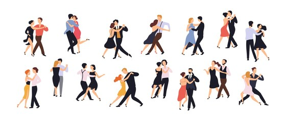 Wall Mural - Collection of pairs of dancers isolated on white background. Men and women performing dance at school, studio, party. Male and female cartoon characters dancing tango at Milonga. Vector illustration.