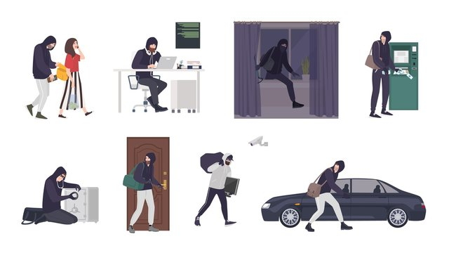 Collection of scenes with male thief or burglar wearing mask and black clothes stealing things from woman s handbag, ATM, safe box, car, apartment or house. Flat cartoon colorful vector illustration.