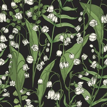 Botanical seamless pattern with blooming Lily of the valley flowers