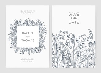 Set of wedding party invitation and Save The Date card templates with Lily of the valley flowers hand drawn with black contour lines on white background. Beautiful floral vector illustration.