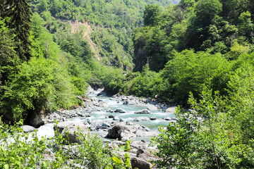 Rivers and rivers in the spring Rize ikizdere