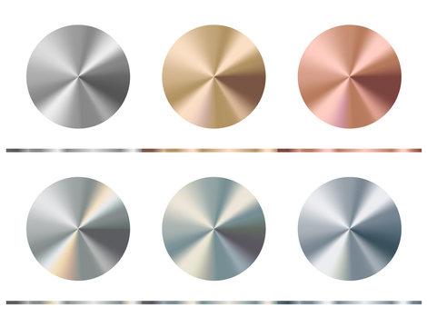 Metal gradient template. Gold, silver, bronze, platinum, steel, chrome round surface, vector illustration.
