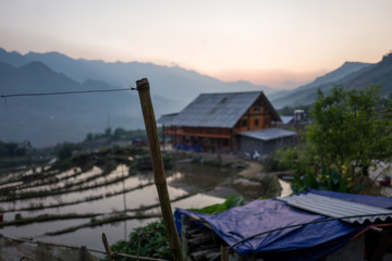 Beautiful sunset in a village near Sapa, Vietnam.