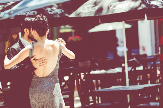 Unidentified couple dancing tango in the street in Buenos Aires, Argentina.
