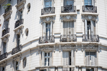 White facade of historic building in Buenos Aires, Argentina.