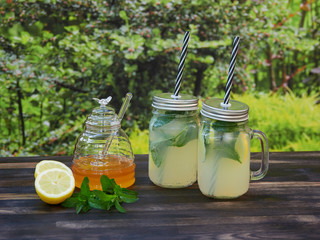 Two jars of fresh lemonade with sparkling water, mint and honey, set on a dark oak table, with green garden vegetation in the background.