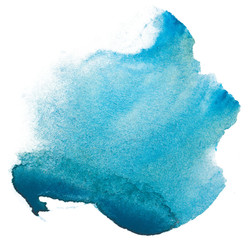 Obraz watercolor stain blue. on white background isolated - fototapety do salonu