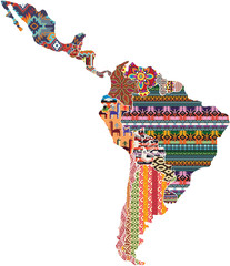 Central and south America native fabric pattern patchwork abstract vector map
