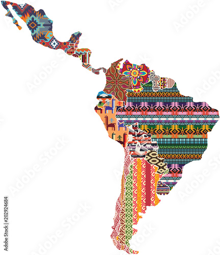 Central and south America native fabric pattern patchwork abstract ...