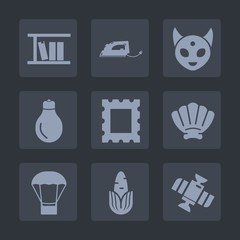 Premium set of fill icons. Such as shell, learning, station, work, tool, energy, home, frame, power, healthy, monster, extraterrestrial, idea, balloon, food, photo, electric, air, sea, ufo, orbit, hot