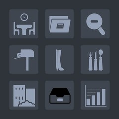 Premium set of fill icons. Such as graphic, mailbox, folder, kitchen, restaurant, diagram, message, box, woman, knife, silhouette, estate, send, business, correspondence, home, table, communication