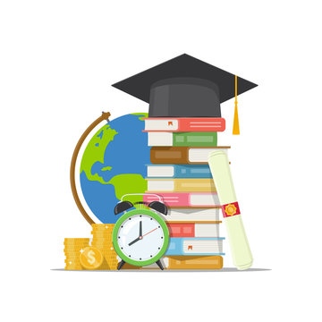 Stack of books, graduation cap, globe, alarm clock and pile coins isolated white background. Back to school, graduation or scholarship concept. Invest in education. Vector illustration in flat style.