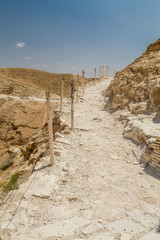 Trail in Judaean Desert in the Holy Land, Israel