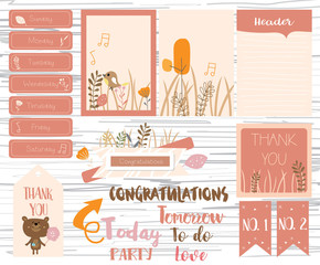 Printable,label and tag with flower,bear,bird and leaf