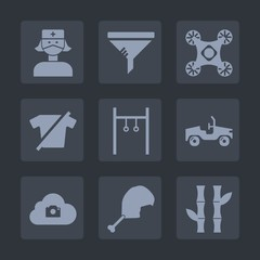 Premium set of fill icons. Such as wireless, control, hospital, filter, health, dust, radio, maintenance, shirt, car, exercise, photo, asia, chicken, medicine, dirty, cloud, repair, athlete, doctor