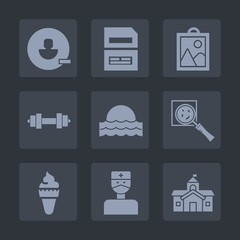 Premium set of fill icons. Such as data, sport, remove, sun, sweet, architecture, food, hospital, city, dessert, sunrise, delete, picture, camera, nature, computer, file, avatar, sign, dumbbell, find