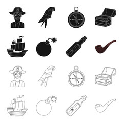 Pirate, bandit, ship, sail .Pirates set collection icons in black,outline style vector symbol stock illustration web.