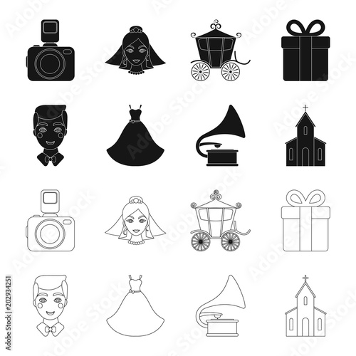 Wedding dress, groom, gramophone, church. Wedding set collection ...