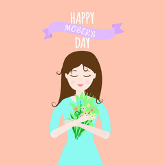 "Vector illustration with woman holding a bouquet of flowers, ribbon and lettering  ""Happy mother's day"" on orange background. Cute feminine design for flyer, greeting card, invitation."