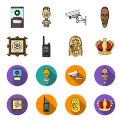 Picture, sarcophagus of the pharaoh, walkie-talkie, crown. Museum set collection icons in cartoon,flat style vector symbol stock illustration web.