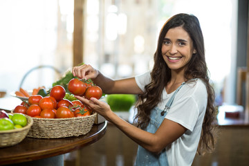 Smiling woman picking fresh tomatoes from the basket