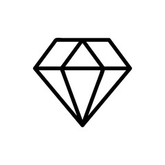 Diamond Icon Vector. Simple flat symbol. Perfect Black pictogram illustration on white background.