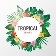Green summer with exotic palm leaves and hibiscus flowers. Vector illustration