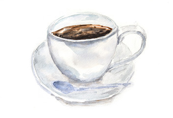 White cup of coffee on white background, watercolor illustrator