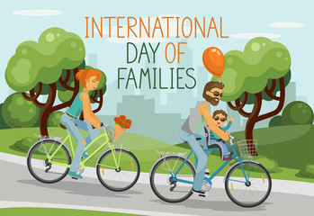International day of families. Parents with child riding tandem outdoor in the city park. Happy family concept. Hand written text. Vector illustration.