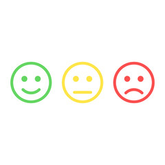 Smiley emoticons icon positive, neutral and negative, vector isolated illustration of red and green different mood.