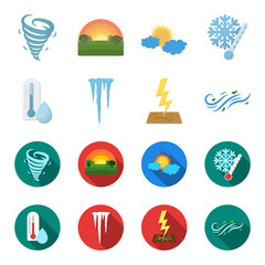Humidity, icicles, thunderbolt, windy weather. Weather set collection icons in cartoon,flat style vector symbol stock illustration web.
