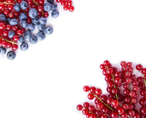 Black and red food on a white. Ripe blueberries and red currants on a white background. Mixed berries at border of image with copy space for text. Black-blue and red berries and fruits. Top view.