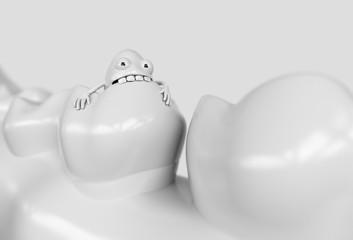 Tooth human cartoon bacteria. Caries bacteria eat the teeth - 3D rendering
