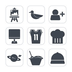 Premium fill icons set on white background . Such as bird, internet, shirt, basketball, wildlife, add, chinese, art, sky, person, restaurant, white, food, paintbrush, pc, team, color, black, computer