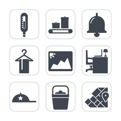 Premium fill icons set on white background . Such as call, picture, bell, geography, baggage, hang, sound, meteorology, alert, bag, handle, suitcase, business, alarm, bucket, clothing, object, fashion