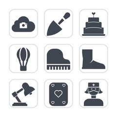 Premium fill icons set on white background . Such as lamp, hot, shovel, game, sweet, computer, piano, cake, play, health, musical, photo, parachute, cloud, air, nurse, internet, screwdriver, transport