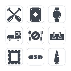 Premium fill icons set on white background . Such as transportation, plate, gambling, vehicle, truck, delivery, carrot, science, gadget, poker, fresh, boat, play, card, raw, frame, health, game, test