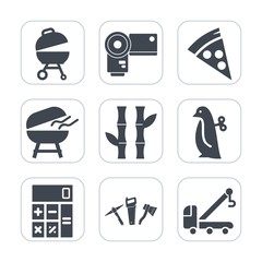 Premium fill icons set on white background . Such as restaurant, meal, business, fire, photographer, pizza, food, car, hammer, cheese, dinner, grilled, toy, finance, repair, barbecue, nature, meat