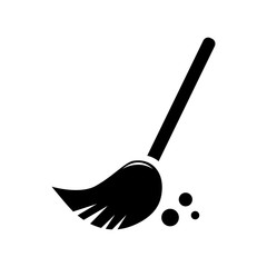 Sweeping broom. Vector icon for presentation, training, marketing, design, web. Can be used for creative template, logo, sign, craft. Isolated on white background. Vector black silhouette.